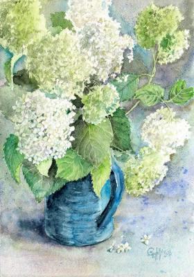 Hydrangea white. Bouquet in a blue vase. Sukhova Natalya