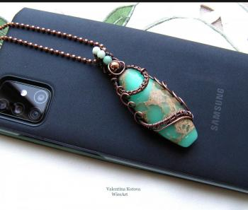 Copper pendant with sea sediment Jasper. Kotova Valentina