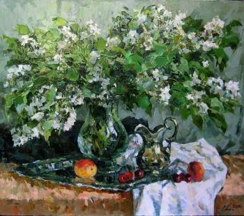 The bouquet of bird cherry flowers. Malykh Evgeny