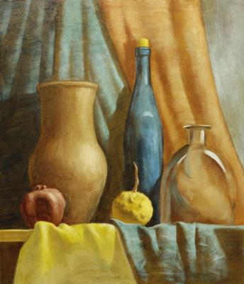 Still life with a blue bottle and a small pumpkin (Color Glass). Grigoriev Alexey