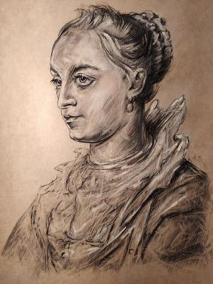 A copy of a drawing by Pieter Paul Rubens - Portrait of a young woman. Pechorin Alan