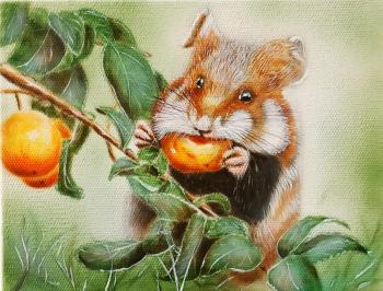 Hamster with apricot. Litvinov Andrew