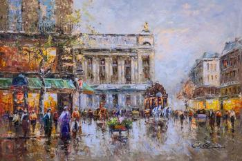 The landscape of Paris by Antoine Blanchard. Cafe de la Paix Opera. Vevers Christina