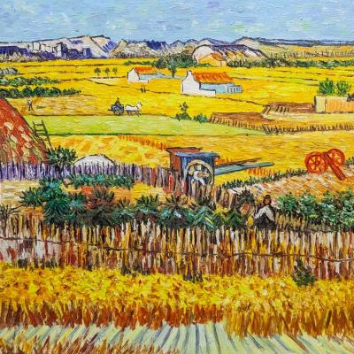 A copy of Van Gogh's painting. Harvest in La Cro, and Montmajeur in the background. Vlodarchik Andjei