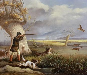Copy of the painting Henry Thomas Olken. Duck Shooting (Duck Hunting). Romm Alexandr