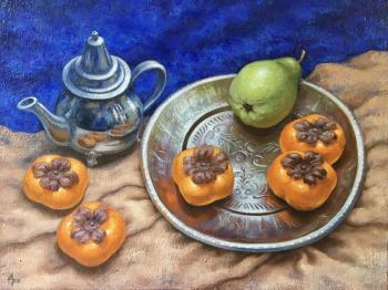 Still life with kettle and persimmon. Shchepetnova Natalia
