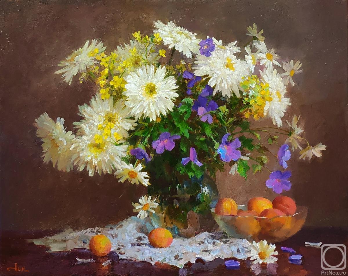 Картина маслом на холсте. Мамазияев Алик. Натюрморт с нивяником