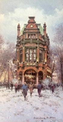 Winter View of The Roebuck Pub. London (Restaurant). Gribennikov Vasily