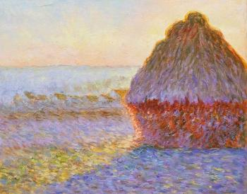 Copy of Claude Monet's painting. Haystack at Giverny. Sunrise. Kamskij Savelij