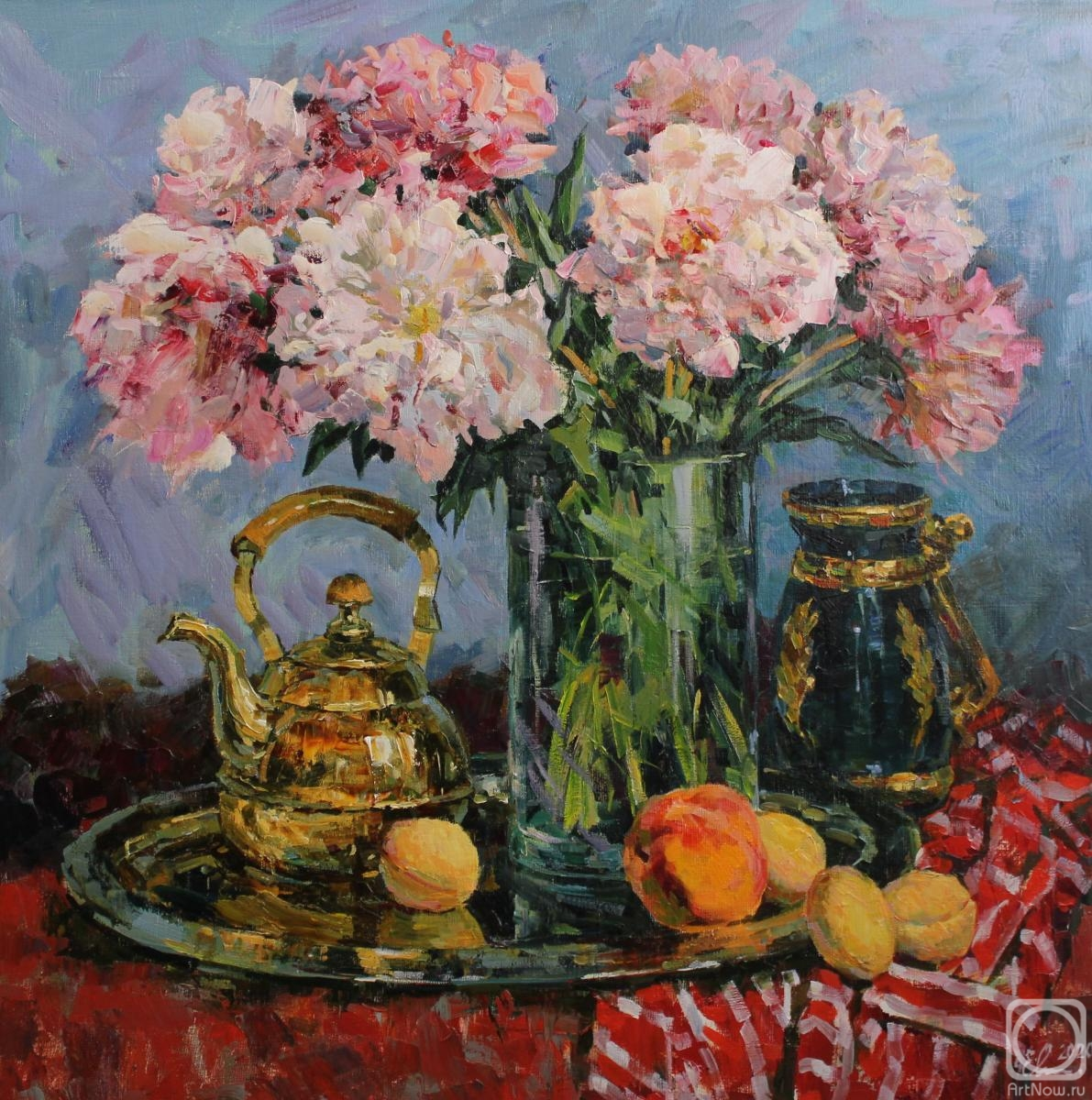 Malykh Evgeny. Peonies and fruits