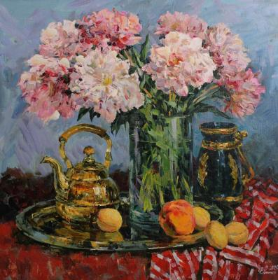 Peonies and fruits (Ware). Malykh Evgeny