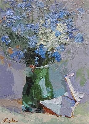 Still life with forget-me-nots and a crane. Markevich Ekaterina