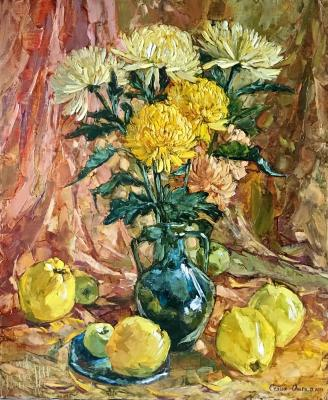 Chrysanthemums and quinces. Sedyh Olga