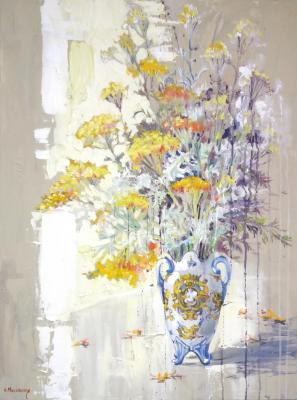 Wild grass in the ancient vase (Still Life With Flowers). Mikhalskaya Katya