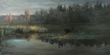 Fishing with last rays of sunset (Russian Artist). Lyssenko Andrey
