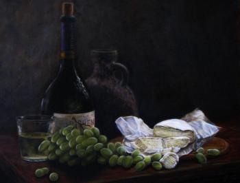 Still life with cheese and green grapes. Fomina Lyudmila