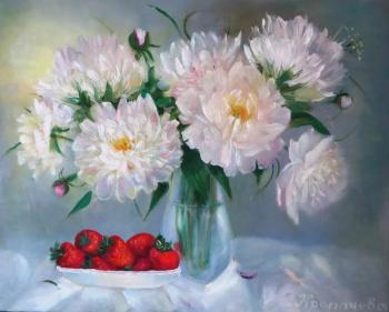 White peonies and strawberries. Kropacheva Elena