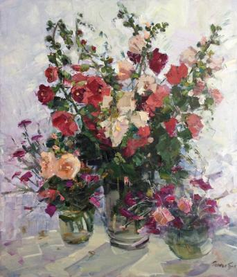 Still life with mallow flowers. Poluyan Yelena