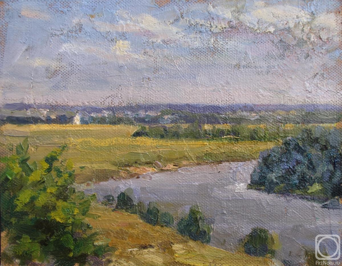 Rodionov Igor. View of the Klyazma river, Bogolyubovo meadow, and the Church of the Intercession on the Nerl