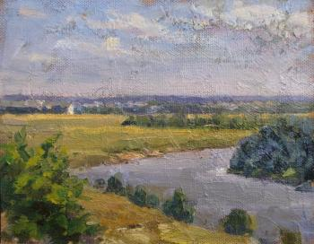 View of the Klyazma river, Bogolyubovo meadow, and the Church of the Intercession on the Nerl. Rodionov Igor