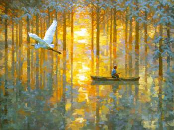 Mangrove dream with a white bird. Volkov Sergey