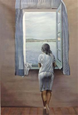 A copy of Salvador Dali's painting. A woman's figure at the window. Kamskij Savelij