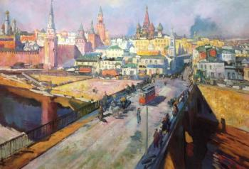 Copy of Konstantin Korovin's painting. Moskvoretsky Bridge. Kamskij Savelij