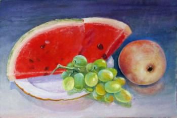 Watermelon, grapes and apple. Kudryashovа Galina