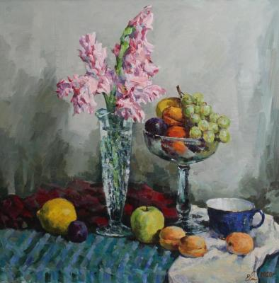 Still-life with the frutis (gladiolus and fruits). Malykh Evgeny