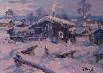 Snow-covered house, sketch. Volya Alexander