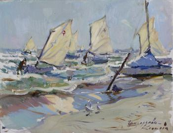 Sailboats in a storm