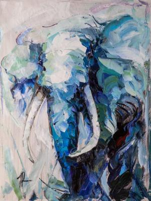 Portrait of an elephant. Blue tone (Modern Impressionism). Rodries Jose