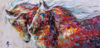 Horses. Moving forward (Modern Impressionism). Rodries Jose