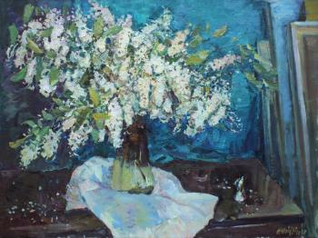 Still life with bird cherry in the studio (Still Life With Flowers). Zhukova Juliya