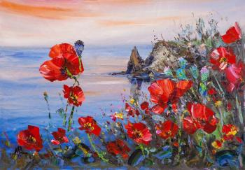 Poppies on the background of the sea N2 (View Of The Sea). Rodries Jose