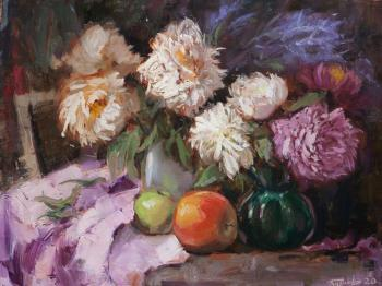 Still life with peonies and apples (Still Life With Flowers). Burtsev Evgeny
