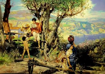 Rome. Village. For water (copy from Semiradsky). Litvinov Valeriy