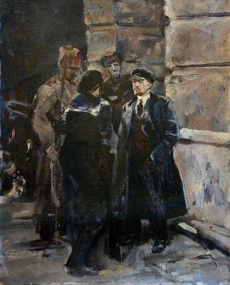 Lenin, a conversation with soldiers and a sailor. Orlov Gennady