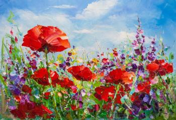Poppy field against the sky. Rodries Jose