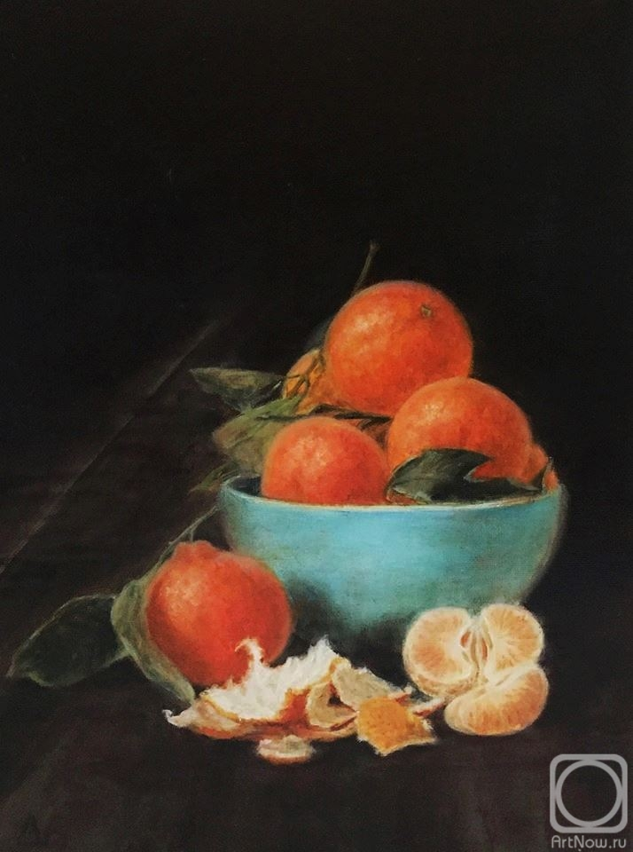 Fomina Lyudmila. Tangerines in a blue cup