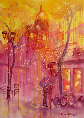 Walk in Montmartre in a golden rain. Ostraya Elena