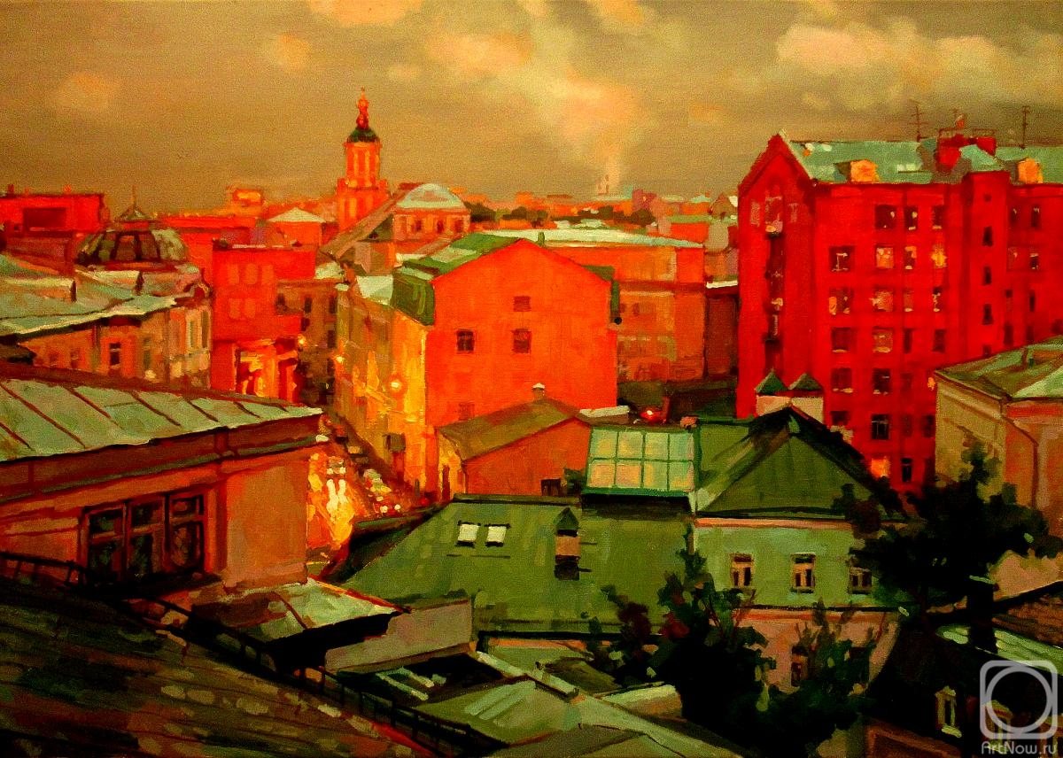Volkov Sergey. Moscow roofs. Twilight rain in Bobrov Lane