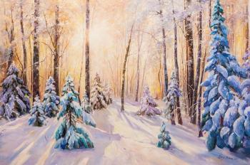 The sun in the winter forest. Romm Alexandr