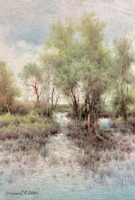 Pond shore. Etude. Gribennikov Vasily