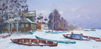 Kargopol in winter, boats. Alexandrovsky Alexander
