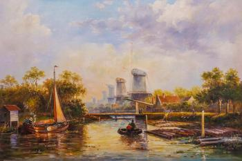 Dutch landscape with a mill. Romm Alexandr