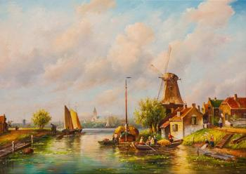 Dutch landscape with a mill N2. Romm Alexandr