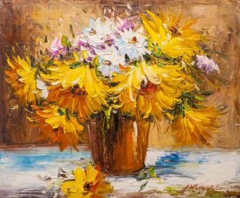 Sunny bouquet in a clay vase (Oil Paintings). Vlodarchik Andjei