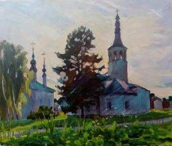 Suzdal, Tsarekonstantinovskaya and Sorrowful churches on the Market Square, sunset (Autumn Landscape). Dobrovolskaya Gayane
