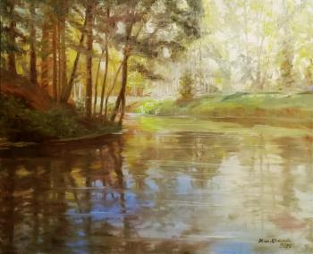 Lake in the autumn forest. Krasnova Nina